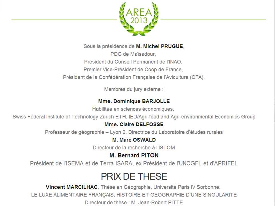 Prix de thèse AREA 2013