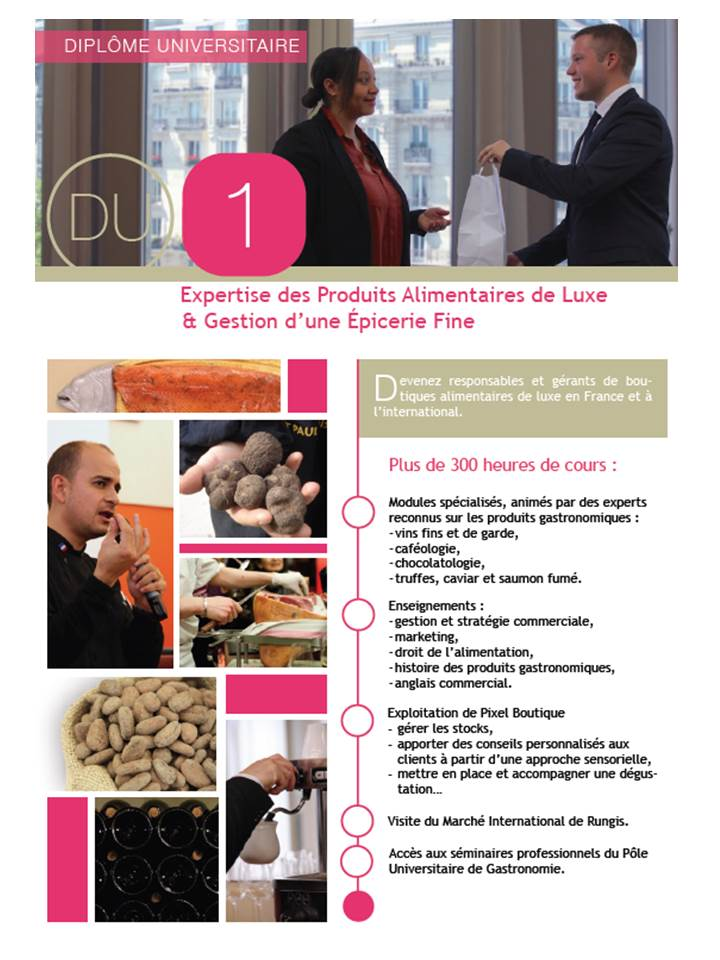 DU-expertise des produits alimentaires de luxe et gestion d'une épicerie fine